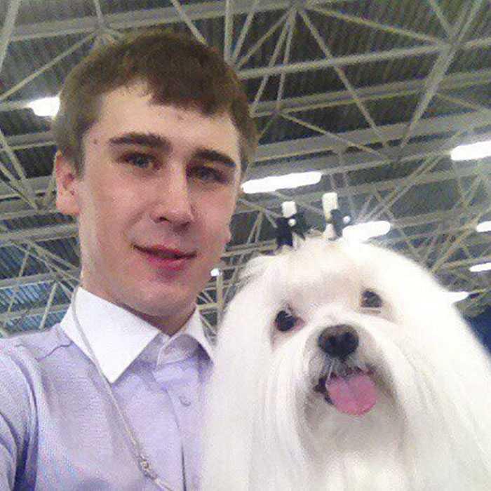 Андрей Хапинин с собакой